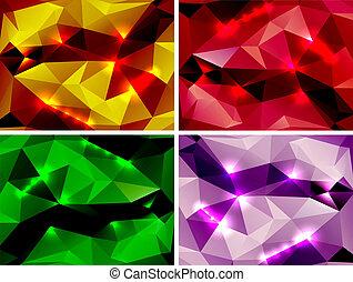 polygonal, abstract, set, achtergronden, kleurrijke