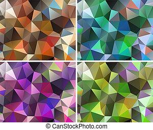 polygonal, abstract, set, achtergronden