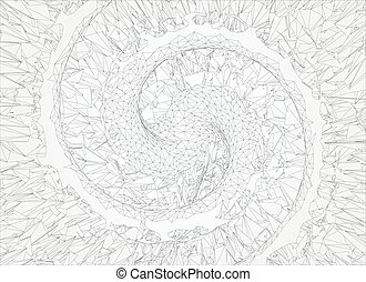 Polygonal abstract spiral  line on white background