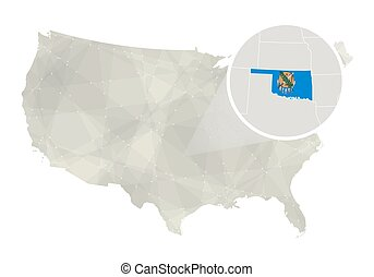 polygonal abstract usa map with magnified oklahoma state