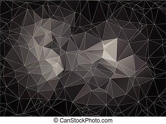 polygonal, abstrakcyjny, czarne tło