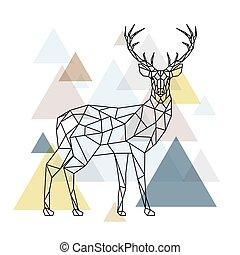 polygonal, abstrakcyjny, deer.