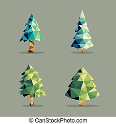 polygonal, abstrakcyjny, komplet, drzewo, sosna