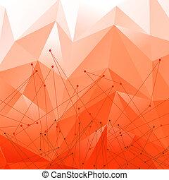 polygonal, abstrakcyjny, modeluje, wektor, tło, czerwony