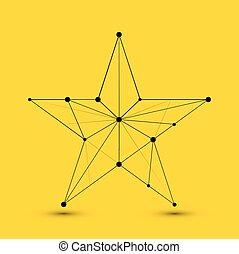 polygonal, abstrakcyjny, wektor, gwiazda, nowoczesny