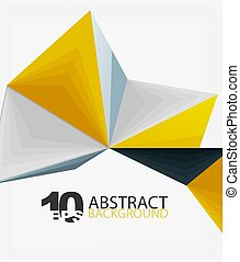 polygonal, abstrakcyjny, wektor, trójkąt, 3d