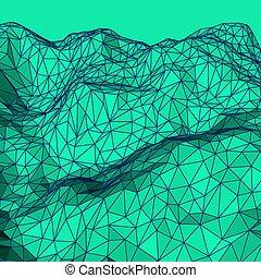 polygonal, abstrakcyjny, zielone tło