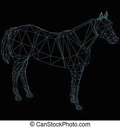 polygonal, abstrakt, pferd