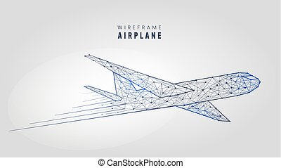 Polygonal airplane, wireframe structure. Template low poly plane on gray background vector illustration