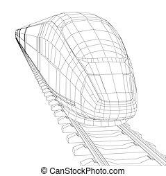 polygonal, alta velocidade, abstratos, trem, passageiro