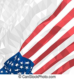 Polygonal American flag waving in the wind