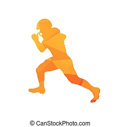 Polygonal american football player silhouette, abstract isolated vector runner