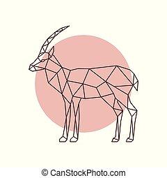 Polygonal antelope silhouette. Geometric antelope side view....