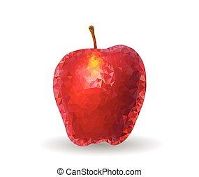 Polygonal apple Fruit Vector Icon on White.