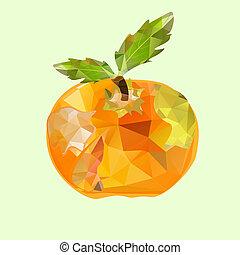 polygonal apple orange