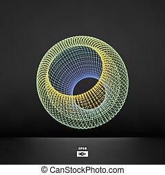 polygonal, astratto, design.
