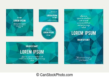 polygonal, astratto, set, geometrico, backgrounds.