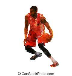 Polygonal basketball player with ball, abstract geometric vector silhouette