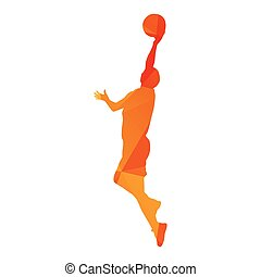 Polygonal basketball player woman, abstract isolated vector silhouette