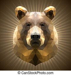Polygonal Bear - Shining Bear in Triangular Style on a...