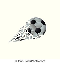 Polygonal broken soccer ball with fragments tail. Football...