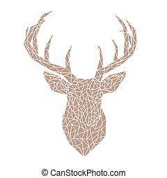 Polygonal brown head of a wild deer.