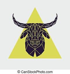 Polygonal buffalo head.