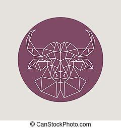 Polygonal Buffalo head. Geometric style.