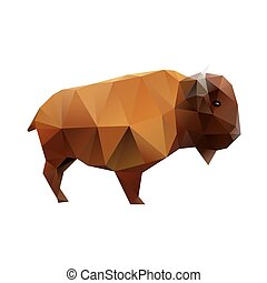 Polygonal Buffalo - Low polygonal buffalo, abstract bison, ...
