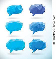 polygonal, bulle, géométrique, ensemble, parole