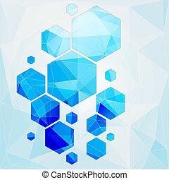 polygonal, célula, abstratos, tecnologia, fundo