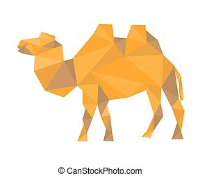 polygonal camel, vector illustration
