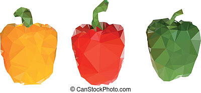 polygonal, capsicums, illustration