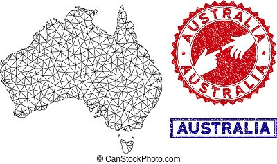 Polygonal Carcass Australia Map and Grunge Stamps
