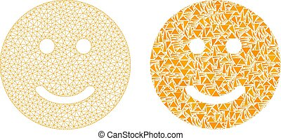 Polygonal Carcass Mesh Glad Smiley and Mosaic Icon