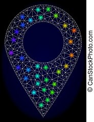 Polygonal Carcass Mesh Local Map Marker with Colorful Light Spots