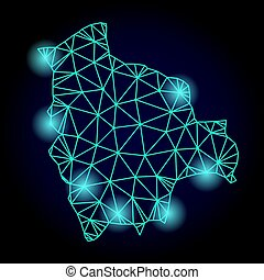 Polygonal Carcass Mesh Map of Bolivia with Light Spots