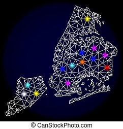 Polygonal Carcass Mesh Map of New York City with Colorful Light Spots