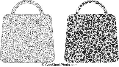 Polygonal Carcass Mesh Shopping Bag and Mosaic Icon - Mesh...