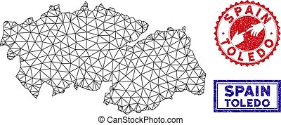 Polygonal Carcass Toledo Province Map and Grunge Stamps -...