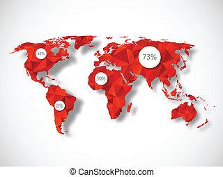 polygonal, carte, éléments, mondiale, infographic