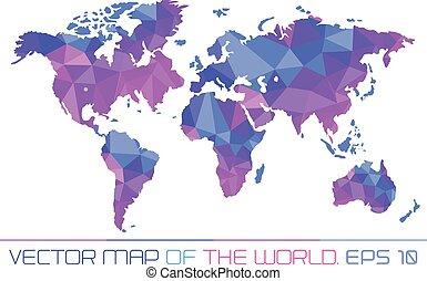 polygonal, carte, mondiale, arrière-plan.