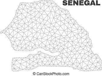 polygonal, carte, sénégal, vecteur, maille