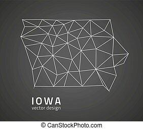 polygonal, carte, vecteur, iowa