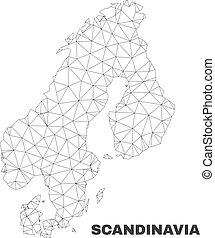 polygonal, carte, vecteur, scandinavie, maille