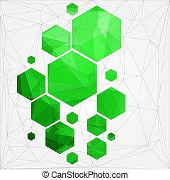 polygonal, celle, abstrakt, teknologi, baggrund