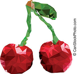 Polygonal Cherry Fruit Illustration
