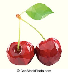 Polygonal Cherry in Vector, low poly style cherry