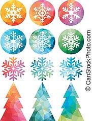 Polygonal Christmas set, vector