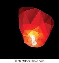 polygonal, cielo, rosso, lanterns.